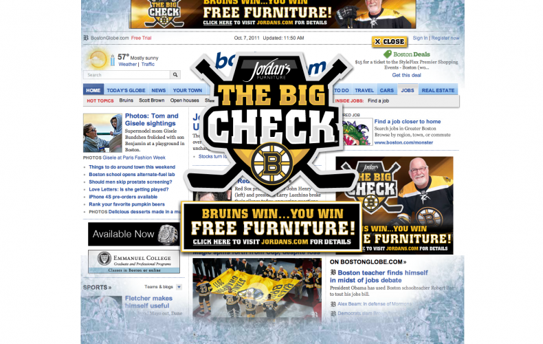 "Jordan's Furniture ""The Big Check"" Boston Bruins Promotion Launches with Our Logo!"