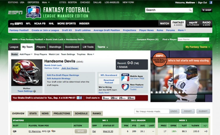 espn fantasy football lead designer for the espn fantasy football
