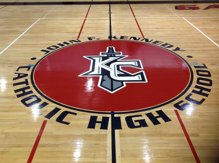"Kennedy Catholic ""KC"" Logo is Painted on The Gym Floor"