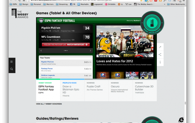 The ESPN Fantasy Football iPad App wins a 2013 Webby Award!