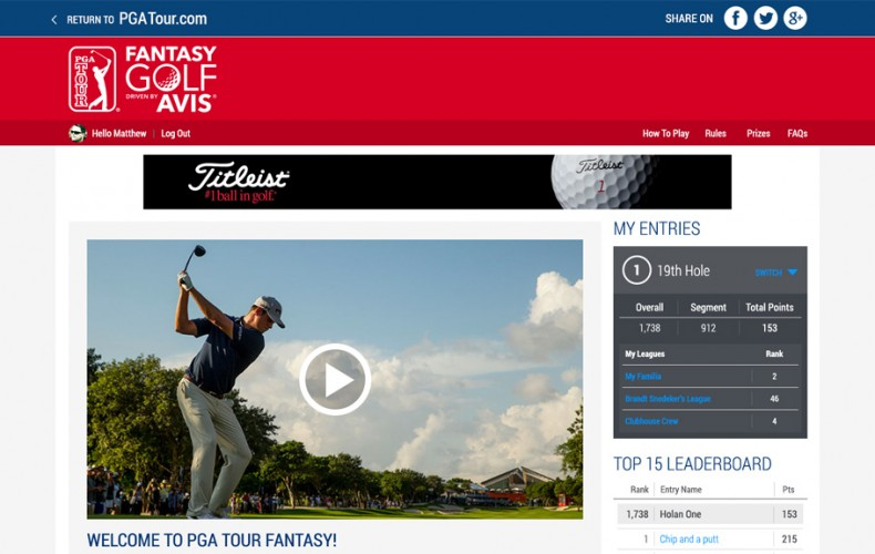 PGA Tour Fantasy Golf Web