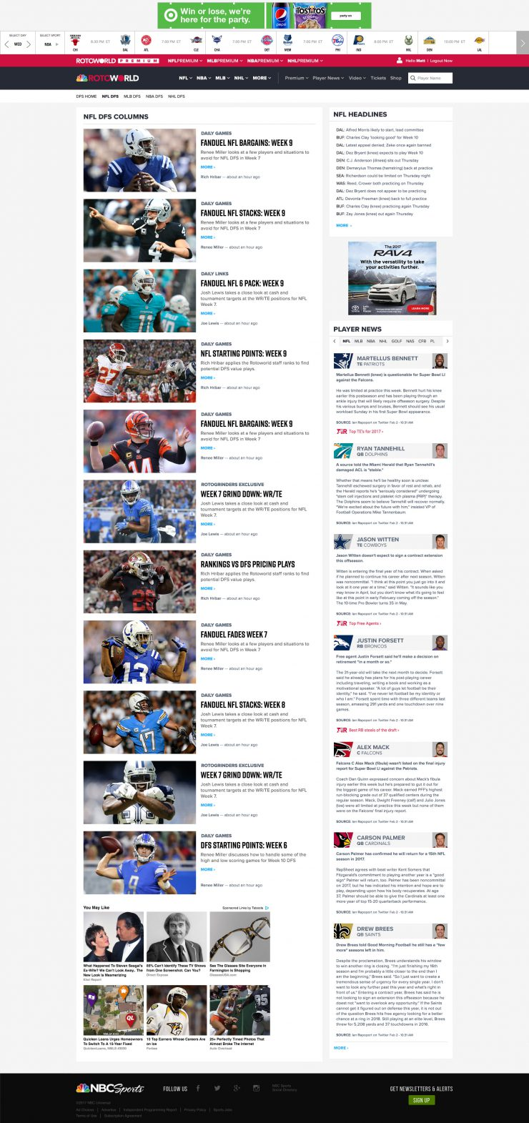 2018 NBC Sports RotoWorld Desktop Redesign