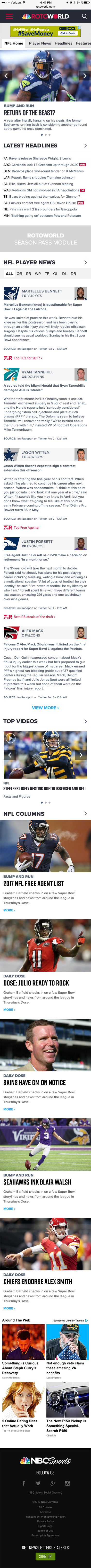 2018 NBC Sports RotoWorld Mobile Redesign