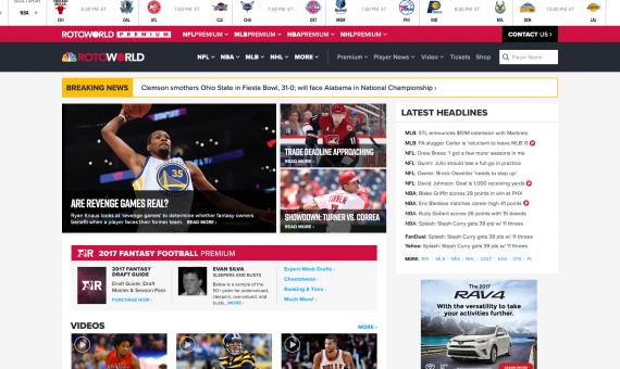 2018 NBC Sports RotoWorld Desktop Redesign