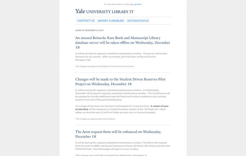 Yale Library IT Email Design