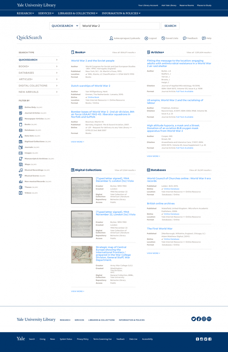 Yale Library QuickSearch