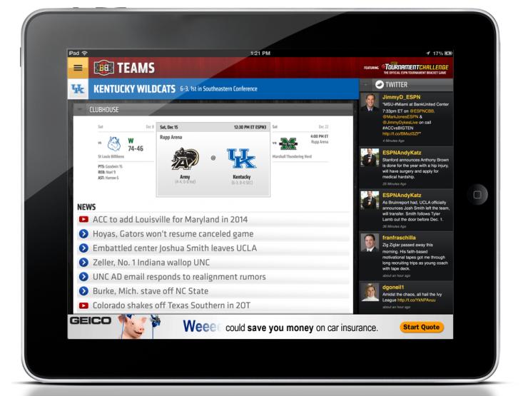 ESPN Bracket Bound iPad App