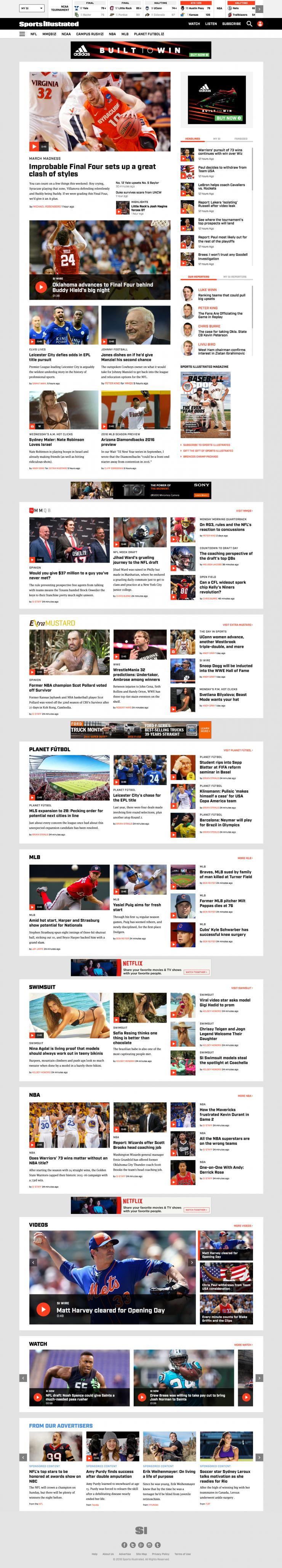 Sports Illustrated 2016 Redesign – Desktop